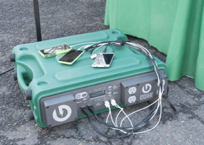 The CORE powering cell phone charging at an event.